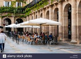 Outdoor Cafe Seating On Plaza Nueva Or Barria In Basque Language Bilbao Spain