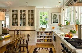 Country Kitchen Decorating Ideas With White Cabinet And Hanging Lamps