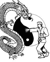 Karate Man Versus Dragon Coloring Pages