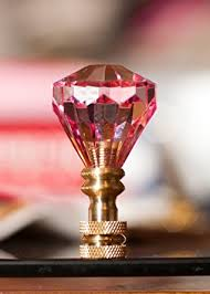 2 of gorgeous pink crystal diamond l shade finial h2