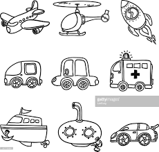 Transportation Collection In Black And White Vector Art