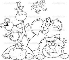 Jungle Animals Coloring Pages Safari Page Outlined Stock Photo Online