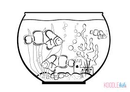 Fish Bowl And Coloring Page Printable Goldfish Sheet Full Size