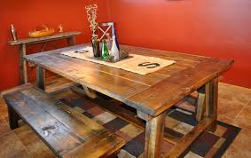 Reclaimed Wood DIY Trestle Farmhouse Table With Double Bench Seat And Burlap Runner For Small Rustic Dining Room Spaces Ideas