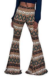 Delcoce Womens Retro Aztec Print Fold Over Bell Bottom Flare Pants Leggings S