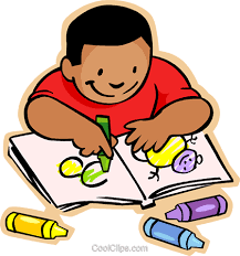 Little Boy With Crayons And Coloring Book Royalty Free Vector Clip Art Illustration