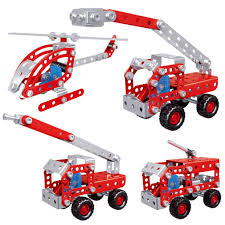 100 Metal Fire Truck Toy 2018 NEW Creative Four In One Metal Fire Truck Series Assembled