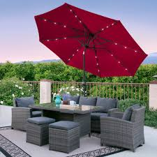 Solar Lighted Rectangular Patio Umbrella by 10ft Deluxe Solar Led Lighted Patio Umbrella With Tilt Adjustment