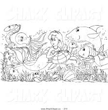 Coloring Page Outline Design Of Sea Creatures Surrounding A Pretty Mermaid