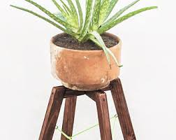 Modern Wood Plant Stand Mid Century Planter