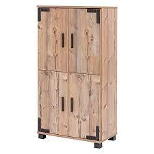 lifestyle4living badezimmerschrank in braun silberfichte dekor breit halbhoher unterschrank mit 4 türen und 2 einlegeboden