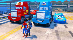 Blue DINOCO Mack The Truck, Disney Cars Lightning Mcqueen Spiderman ...