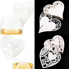 50x Flower Wine Glass Place Cards Wedding Christmas Eve Name Party