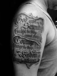 Ripped Skin Serenity Prayer Scroll Guy Upper Arm Tattoos