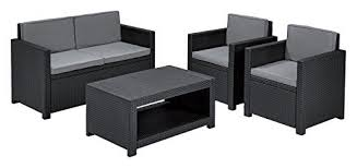 Keter Rattan Lounge Chairs by Grey Rattan Outdoor Furniture Amazon Co Uk