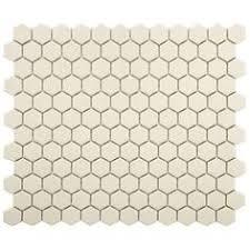 lyric unglazed porcelain hexagon mosaic tile in chalk non