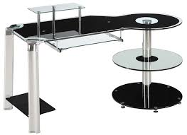 Small Glass And Metal Computer Desk by L Shaped Glass Computer Desk Metal