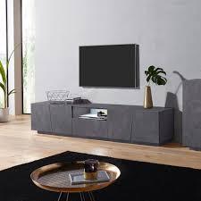 moderner tv schrank mit 4 schiebetüren 220cm schublade low ardesia xl