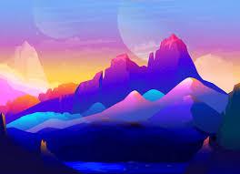 100 Minimalist Landscape Rock Mountains Colorful Illustration