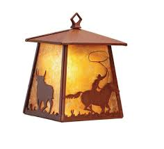 cowboy and steer hanging wall sconce western rustic lighting