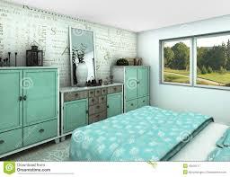 gemütliches schlafzimmer des türkises stock abbildung