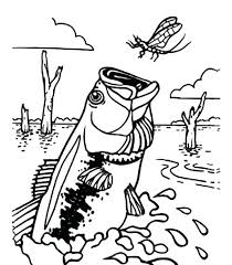 Dragonfly Coloring Pages Bass Fish Catching Cute