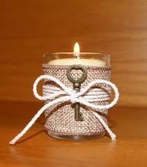 Rustic Wedding Light Burlap Votive Candle Holder Decor Skeleton Key Decoration Country 6