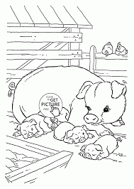 Cute Pigs Coloring Page For Kids Animal Pages Printables Farm Printable Large Size