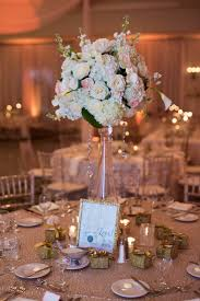 Tall White And Light Pink Rose Hydrangea Wedding Centerpieces Flowers In Clear Vase On Glitter