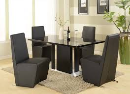 Modern Black Dining Room Sets With Contemporary Chairs Design And Elegant Glass Table