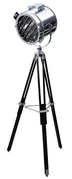 surveyors spotlight floor l chrome spotlight floor l on black tri pod stand manly decor