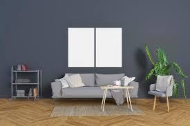 wohnzimmer mit blau grauen wänden und rahmen premium psd datei