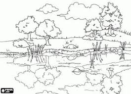 Beautiful Countryside Landscape With The Reflections In Calm Waters Of Pond Coloring Page