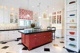 View In Gallery Kitchen Island Black And Red Steals The Show Here