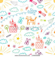 Children Drawings Color Seamless Pattern