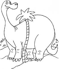Diplodocus And Palm Tree Coloring Page