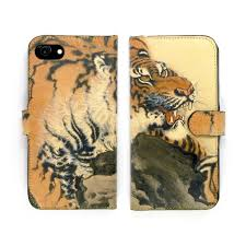 Tiger phone case genuine leather printed microsuction wallet folio for men