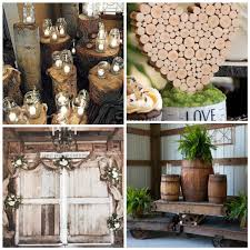 Rustic Wedding Decorations With Tree Trunk Lighted Mason Jars Burlap Swags Floral Sprays