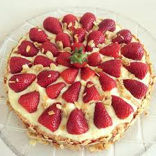 erdbeer pudding kuchen mit biskuitboden zimtstoff