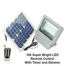 bright smd led solar flood light w panel and remote solar
