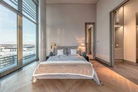 Modern Bedroom Design With Large Windows Natural Bedding Fabrics In Neutral Colors TS Project