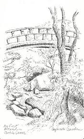 Fine Japanese Garden Bridge Drawing Coloring Page Pages With