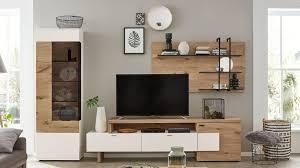 interliving wohnzimmer serie 2104 wohnkombination weiße lackoberflächen balkeneiche dreiteilig ca 325 cm