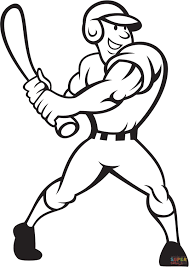 Click The Baseball Player Batting Side Coloring Pages To View Printable