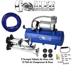 Buy Air Horn 4 Trumpet 12 Volt Compressor 18ft Hose 150 DB Train 120 ... Universal Fourtrumpet Air Train Horn Kit For Cartruckboat Truck Kit Two Trumpet 110 Psi 12v Dc Compressor Pssure Pair Loud 2 Big Rig Semi Air Horns Viair 150psi Sale Hornblasters Train Horn Install Truckin Magazine 12v Chrome Dual Trumpet Compressor Car Boat Wolo Mfg Corp Air Horns Horn Accsories Comprresors Lumiparty 178db Super Fort Double Trompette Voiture Azir 135db With Two Trumpets And Unique Bargains Sliver Tone Metal Lond Sound 3trumpet 150db 24v Auto Four 4 Alloy Tone Of Texas
