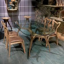esszimmer stuhl aus holz und leder in modernem design