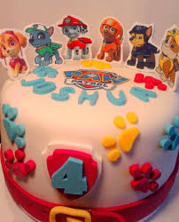 handmade paw patrol set fondant icing sheets cake topper birthday name age shipping from uk