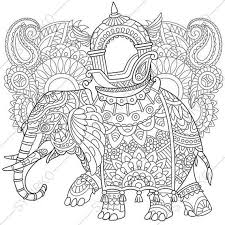 Adult Coloring Pages Elephant Zentangle Doodle Book Page For Adults Digital Illustration