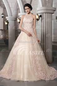 vintage halter ball gown bridal gowns lace appliques chapel court