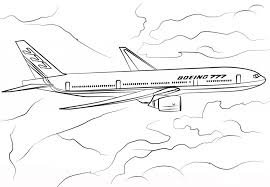 Boeing 777 Airplane Coloring Page